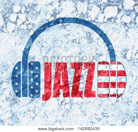 Silhouettes of headphones with jazz text. Textured by USA flag. Scattering of stones backdrop