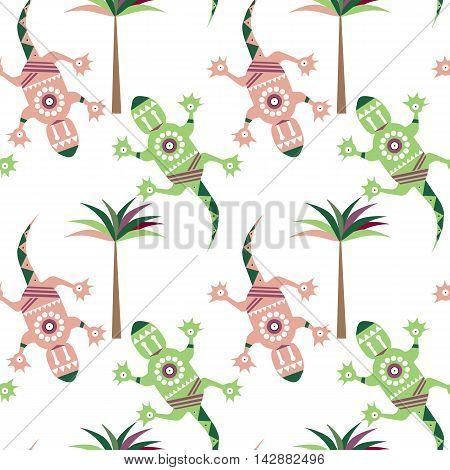 Salamander. Vector flat illustration on white background. Seamless pattern of Hawaiian motif.