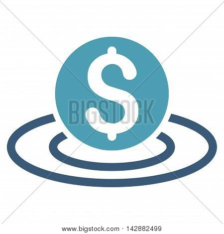 Dollar Coin Area icon. Vector style is bicolor flat iconic symbol with rounded angles, cyan and blue colors, white background.
