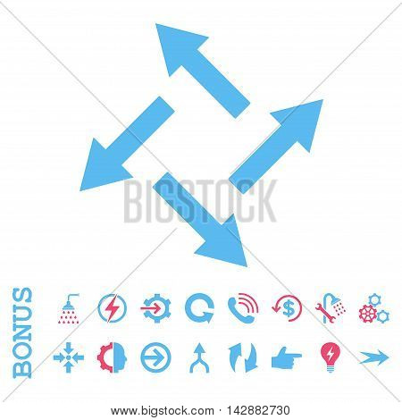 Centrifugal Arrows vector bicolor icon. Image style is a flat iconic symbol, pink and blue colors, white background.