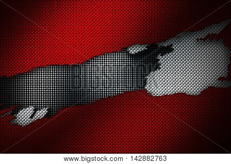 white and red carbon fiber tear on the black metallic mesh. background and texture. 3d illustration.
