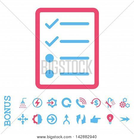 Checklist Page vector bicolor icon. Image style is a flat pictogram symbol, pink and blue colors, white background.