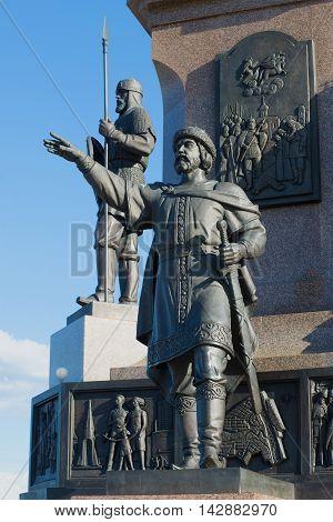 YAROSLAVL, RUSSIA - JULY 10, 2016: Sculpture of Prince Yaroslav the Wise monument in honor of the 1000th anniversary of Yaroslavl. Historical landmark