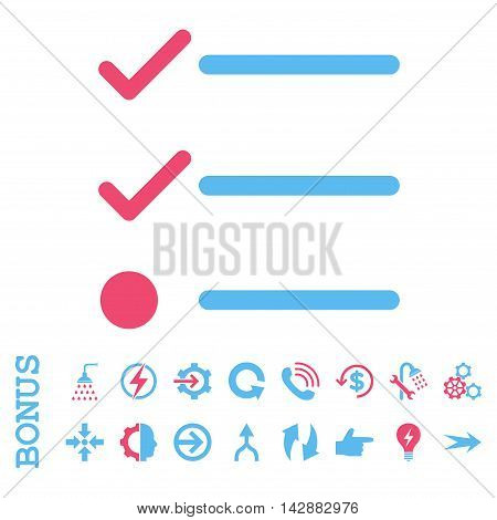 Checklist vector bicolor icon. Image style is a flat iconic symbol, pink and blue colors, white background.