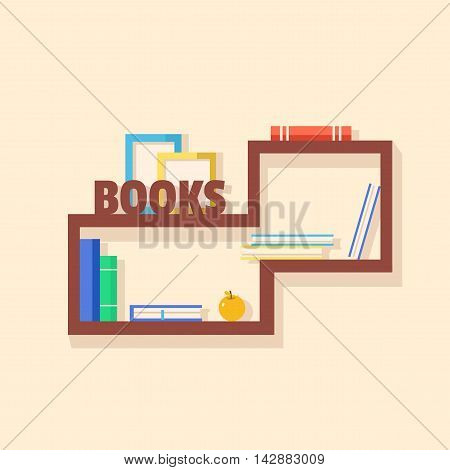 Collection of paper books. Wooden bookshelf. Vector flat illustration. Books on bookshelves. Vector illustration. Addition to the interior