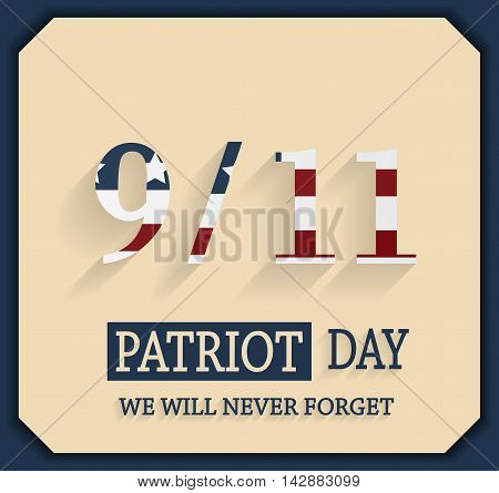 Patriot Day poster. 9/11 text striped. Vector illustration.