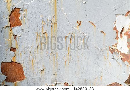 Background of gray rusty iron wall with many layers of paint
