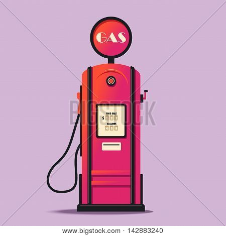 Retro gas station. Cartoon vector illustration. Vintage design. Gasoline pump