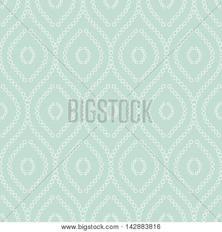 Seamless vector ornament. Modern geometric pattern with repeating white round elements
