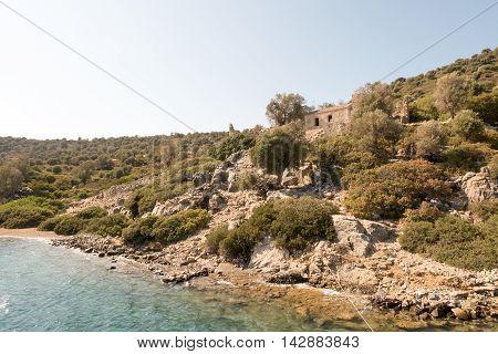 Byzantine church and monastery with mosaic in Aegean sea Camellia island Turkey