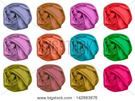 color set of crumpled silk fabric