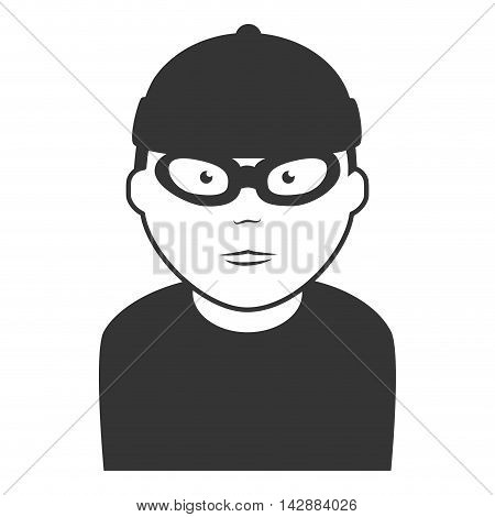 robber thief man mask hat human male criminal vector  isolated and flat illustration