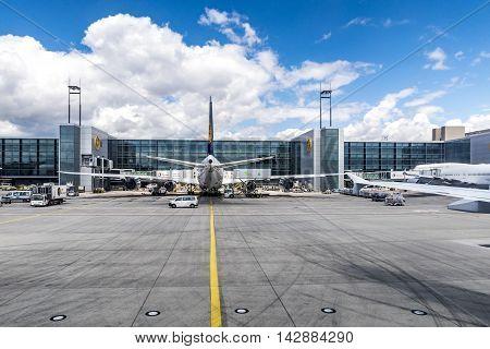 Lufthansa Flight At The Gate In Frankfurt