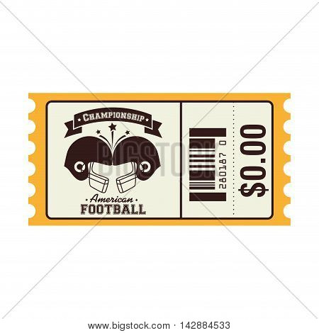 ticket american football helmet championship price sport vector  isolated and flat illustration