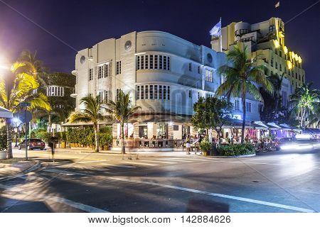 Night View At Ocean Drive  In Miami Beach, Florida