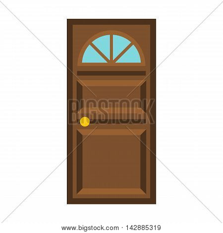 Wooden door with arched glass icon in flat style isolated on white background