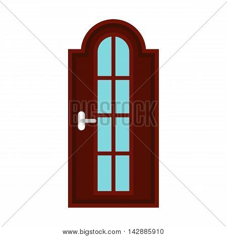 Brown arched interior door icon in flat style isolated on white background