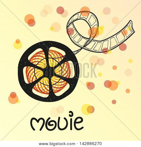 Movie vector illustration with filmstrip. Can be used as background, poster, banner, flyer design.