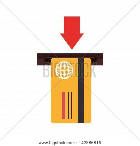 card debit insert arrow remove credit money pay chip transaction plastic  money vector  isolated and flat illustration