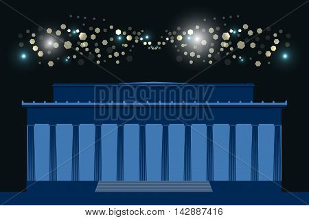 Memorial. The Building With Columns At Night, Bright Flashes In The Sky. Washington. Usa.