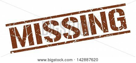 missing stamp. brown grunge square isolated sign