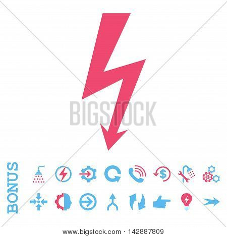 High Voltage vector bicolor icon. Image style is a flat pictogram symbol, pink and blue colors, white background.