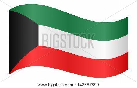 Flag of Kuwait waving on white background. Kuwait national flag.
