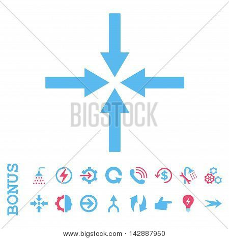 Impact Arrows vector bicolor icon. Image style is a flat iconic symbol, pink and blue colors, white background.