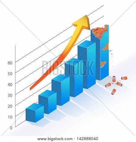 Business Statistic Bar Chart wrecked broken brick vector 3d diagram vector illustration