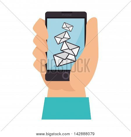 check mail hand finger inbox send mailbox read delivery vector  isolated and flat illustration