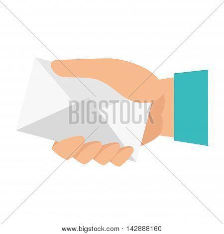 hand mail envelope holding letter postcard correspondence vector illustra