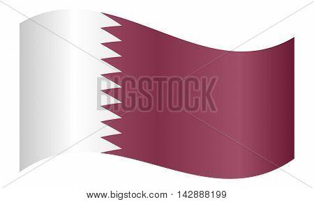 Flag of Qatar waving on white background. Qatari national flag.