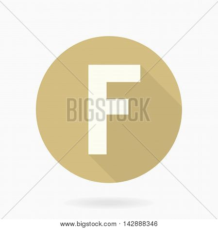 Fine vector letter F in the circle. Flat design and long shadow. Golden and white colors