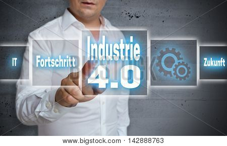 Industrie 4.0 (in German Industry, Progress, Future) Touchscreen Concept Background