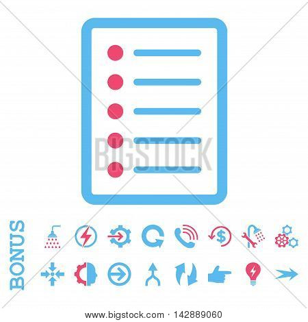 List Page vector bicolor icon. Image style is a flat pictogram symbol, pink and blue colors, white background.