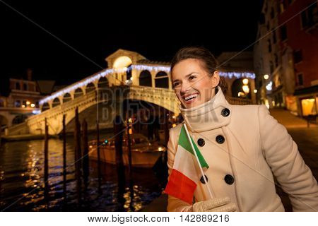 Young Elegant Woman Spending Christmas Time In Venice, Italy
