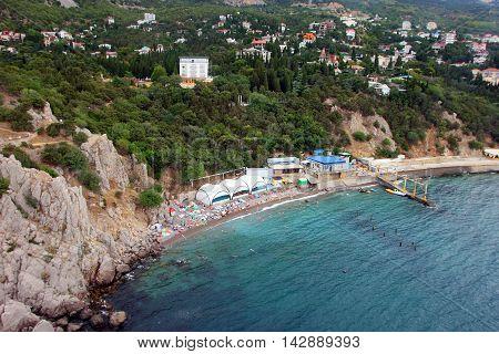 beautiful panorama of southern coast of Crimea and municipal pebble beach