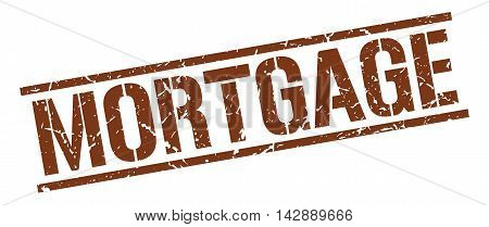 mortgage stamp. brown grunge square isolated sign