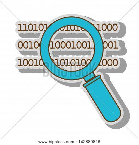lupe binary code search system look handle vector  illustration isolated