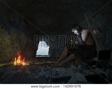 primitive man siting in the cave with smartphone concept illustration 3d illustration