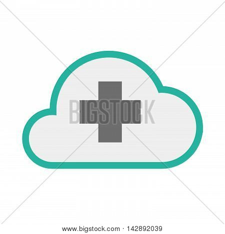 Isolated Line Art   Cloud Icon With A Pharmacy Sign