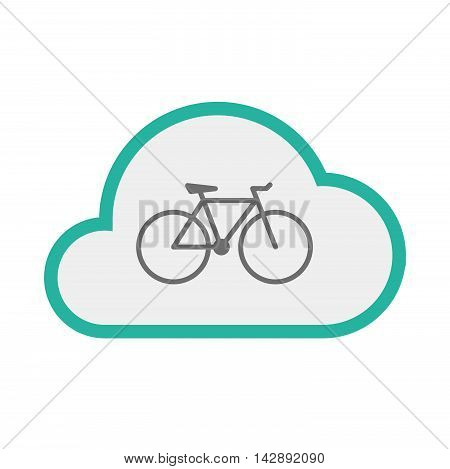 Isolated Line Art   Cloud Icon With A Bicycle