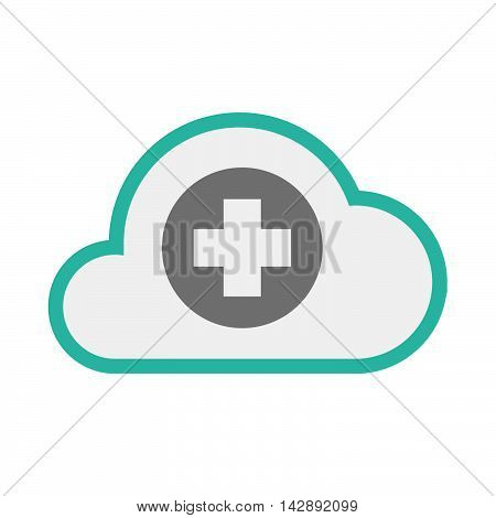 Isolated Line Art   Cloud Icon With A Round Pharmacy Sign