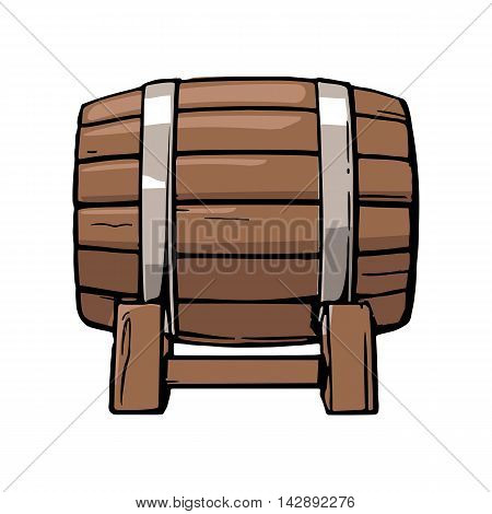 Wooden barrel set engraving vector illustration. Color vintage engraving vector illustration. Isolated on white background