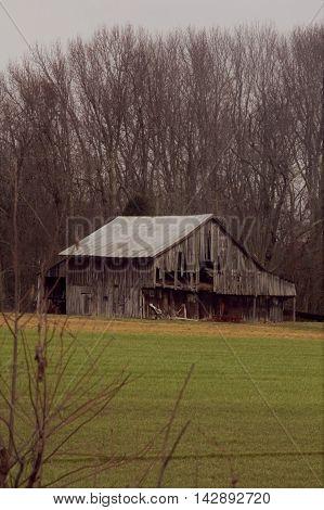 Old worn down barn on a farm
