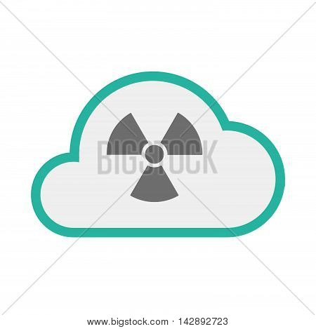 Isolated Line Art   Cloud Icon With A Radio Activity Sign