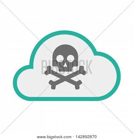 Isolated Line Art   Cloud Icon With A Skull