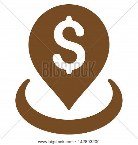 Bank Placement icon. Vector style is flat iconic symbol with rounded angles, brown color, white background.