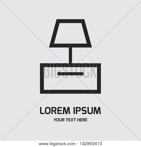 Lamp on the table logo design vector template. Interior shop symbol concept icon.