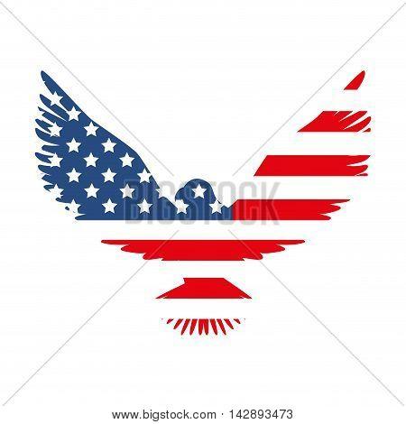 hawk america flag usa us emblem nation eagle vector  illustration isolated